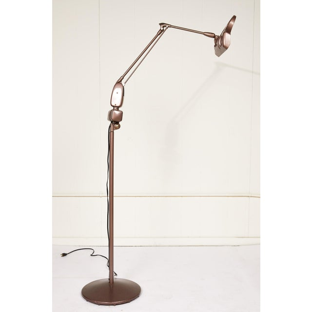 Mid 20th Century Industrial Articulating Arm Floor Lamp With Magnifier by Dazor For Sale - Image 5 of 12