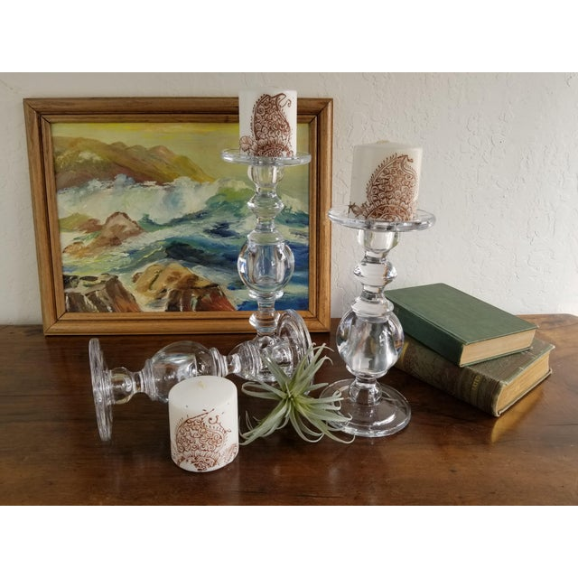 Glass William Sonoma Glass Baluster Pillar Candle Candlesticks - Set of 3 For Sale - Image 7 of 9
