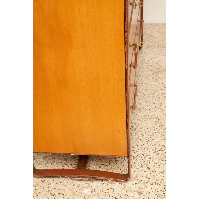 1950s Large Cherrywood and Leather Cabinet by Jacques Adnet For Sale In Miami - Image 6 of 13