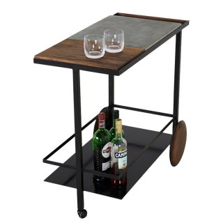 Concrete Steel and Walnut Bar Cart For Sale