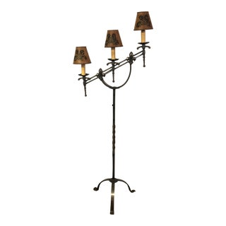 Late 18th Century Antique French Cast Iron Candelabra Converted Into Lamp For Sale