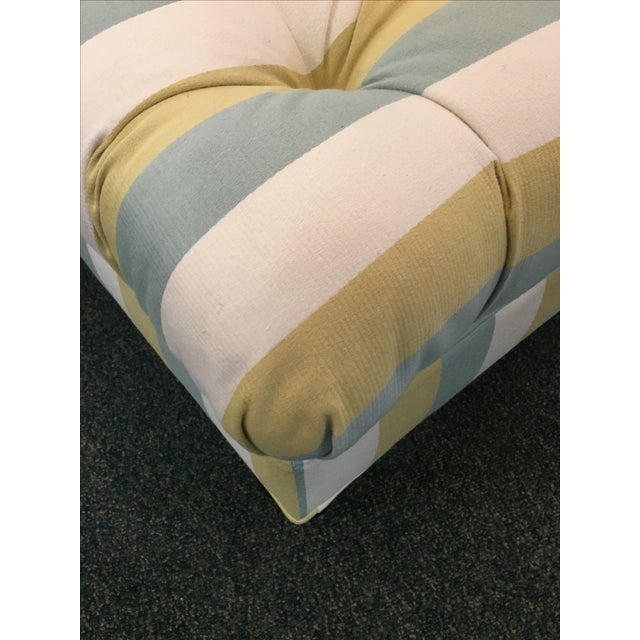 Striped Tufted Ottoman For Sale - Image 5 of 7