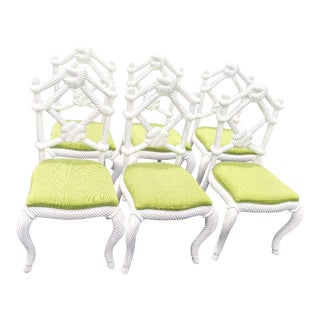Set of 6 High End White Rope Knot Nautical Dining Room Chairs W/ Lime Green Fabric For Sale