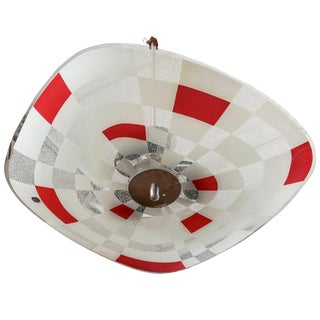Mid Century German Red White Glass Op Art Light Fixture