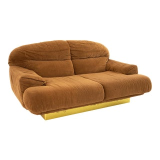 Milo Baughman Style Mid Century Brass Base Loveseat For Sale