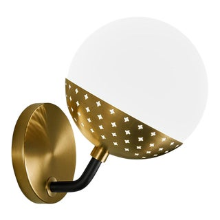 Opal Globe Wall Light in Brushed Brass For Sale