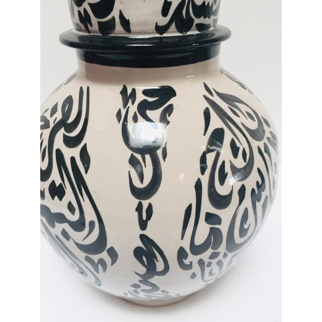 Black Moroccan Ceramic Lidded Urn With Arabic Calligraphy Lettrism Black Writing For Sale - Image 8 of 12