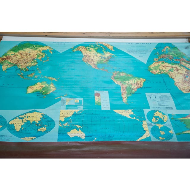 Vintage 60s Costello Pull Down Map of World - Image 2 of 9