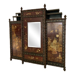 Late 19th Century English Chinoiserie Mirrored Cabinet For Sale