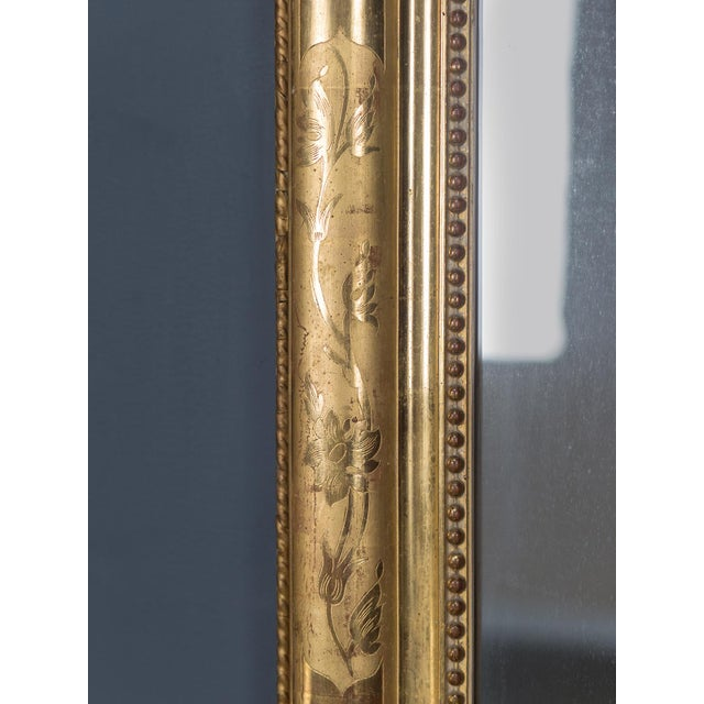 Antique French Louis Philippe Gold Leaf Mirror circa 1870 For Sale - Image 9 of 10