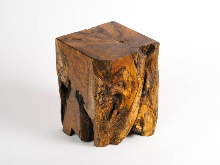 Organic Modern Indonesian Teak Wood Cube Side Table For Sale In New York    Image 6