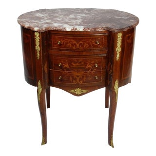 19th C. Italian Marquetry Marble Top Inlaid Table For Sale
