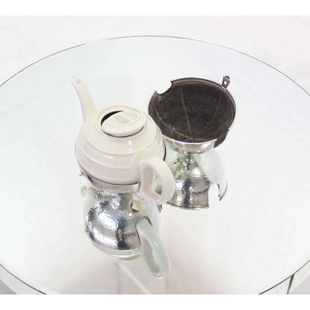 WMF Porcelain Tea Pot in Hammered Metal Insulated Cover For Sale - Image 10 of 10