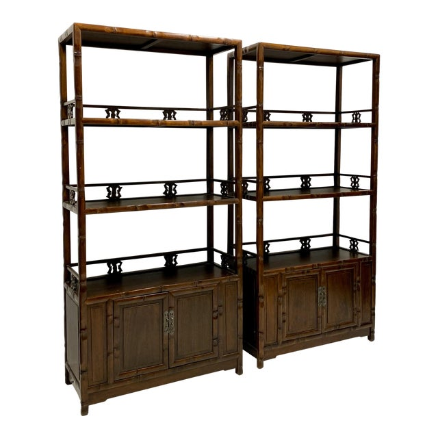 Pair of Mid-Century Asian Faux Bamboo Etageres For Sale