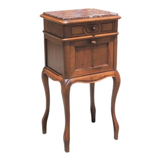 1900s French Louis XV Solid Walnut Night Stand For Sale