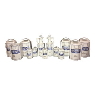 German Porcelain Hand-Painted Canister Set - 26 Pieces For Sale