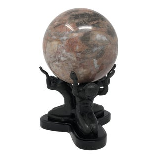"Large Vintage Marble Sphere on ""Atlas"" Style Stand For Sale"