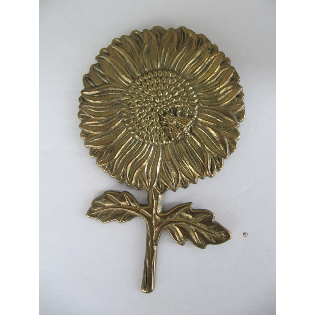 Vintage Brass Sunflower Decorative Object - Image 2 of 5