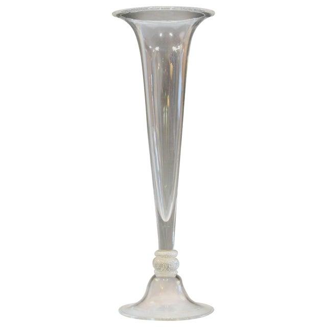 Seguso Vetri d'Arte Tall Trumpet Form Murano, 1950s Signed Silver Center Vase For Sale - Image 11 of 11
