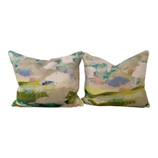 Designer Watercolor Pillows - a Pair For Sale