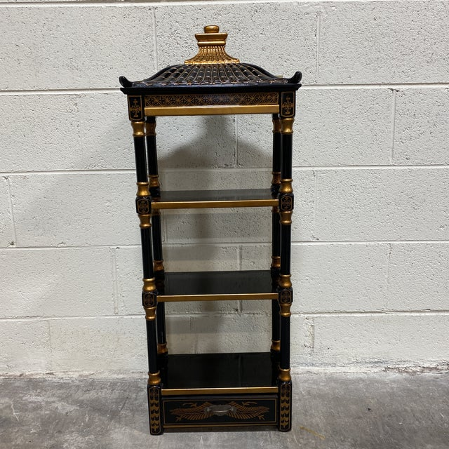Black Gold Lacquer Pagoda Wall Shelf For Sale - Image 4 of 13