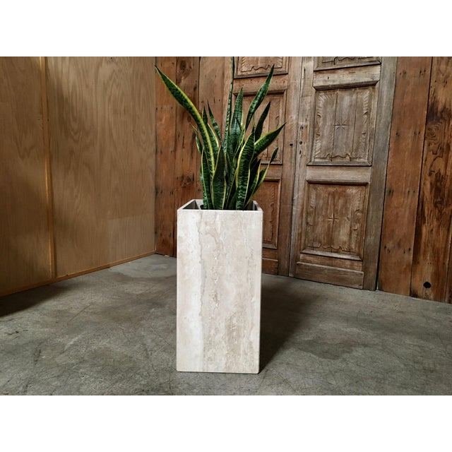 20th Century Modern Travertine Marble Planter For Sale - Image 4 of 11