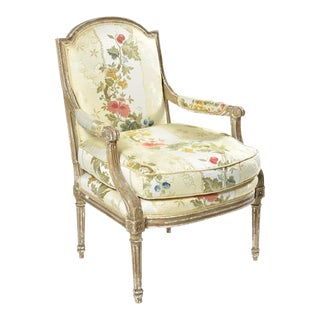 French Bergere Armchair With Scalamandre Upholstry For Sale