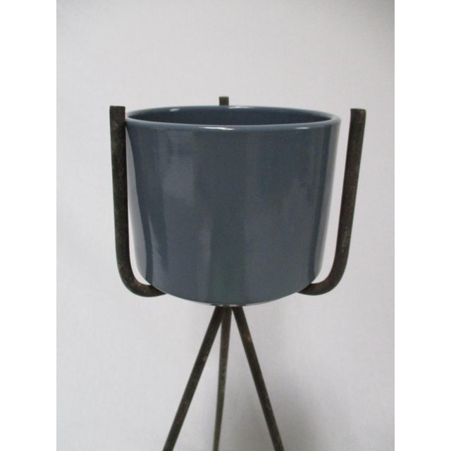 Mid-Century Modern Gainey Blue Pot & Iron Tripod Stand - Image 3 of 11