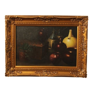 Graceful Art Framed Still Life Oil Painting on Canvas For Sale