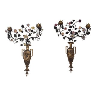 Antique Neoclassical Style Porcelain & Bronze Candle Sconces - A Pair For Sale