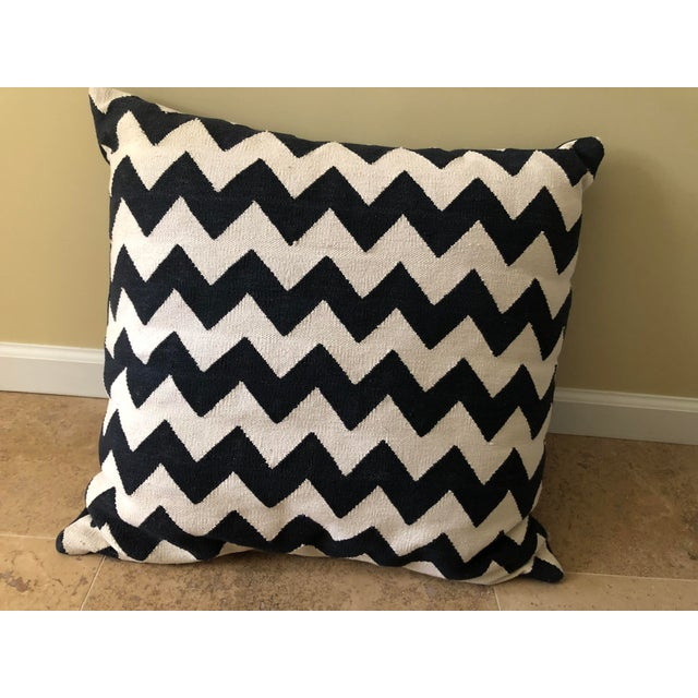 Textile Madeline Weinrib Black Chevron Block Print Pillows - A Pair For Sale - Image 7 of 10