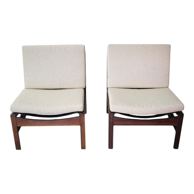 Mid-Century Armless Lounge Chair, Sold as a Pair For Sale