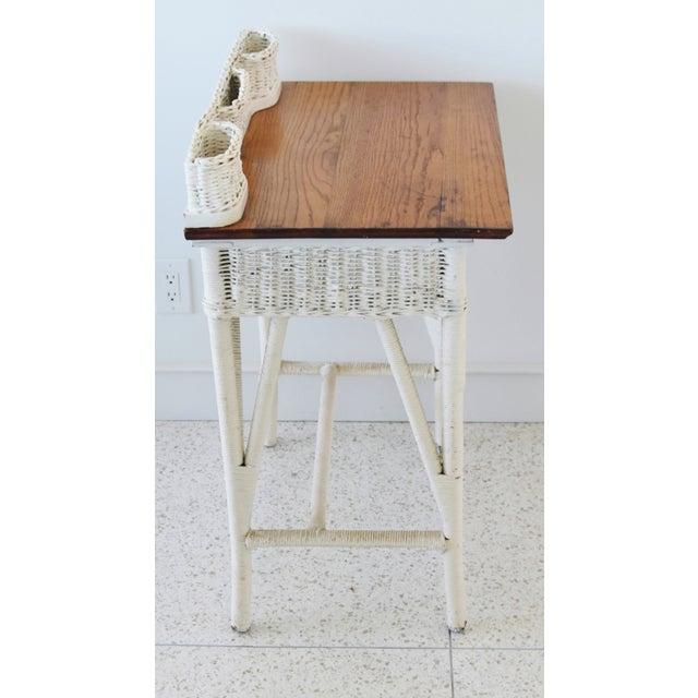 Wicker Antique Painted Wicker & Oak Writing Desk Table For Sale - Image 7 of 13
