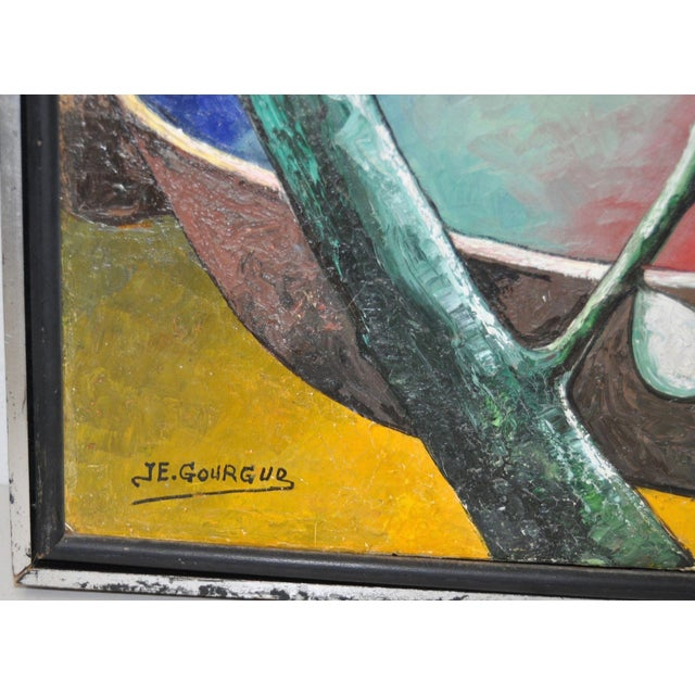 Abstract Jacques Enguerrand Gourgue (1930-1996) Haitian Master Original Oil Painting C.1950s For Sale - Image 3 of 5