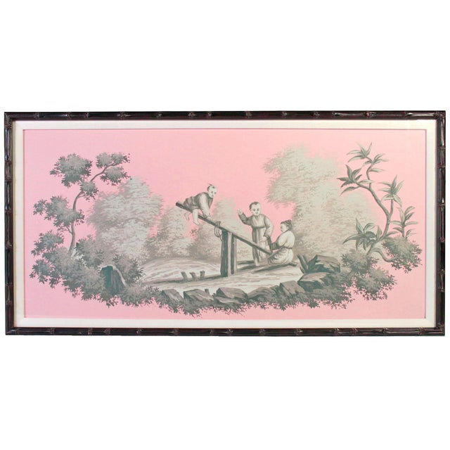 2000 - 2009 Vintage Chinoiserie Artwork of Children Playing Painted in Grisailles on Pink Background For Sale - Image 5 of 5