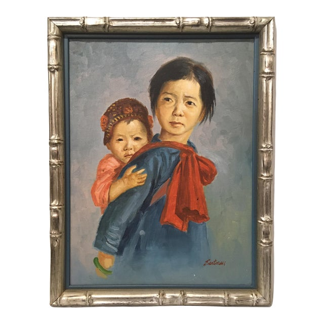 Vintage Portrait of Mother and Child Oil Painting, Framed For Sale