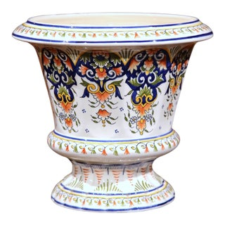 Early 20th Century, French Hand-Painted Jardinière Planter From Rouen For Sale