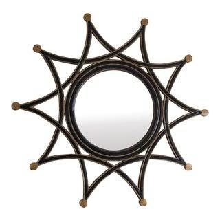 Black and Gold Round Starburst Mirror For Sale