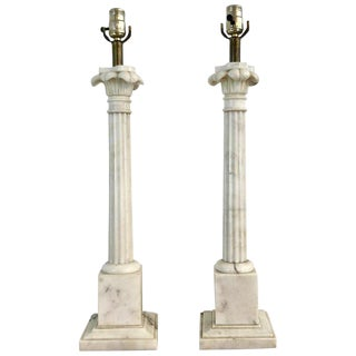 Pair of Italian Carrera Marble Column Lamps For Sale
