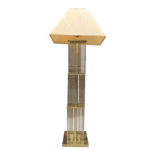 Gaetano Sciolari Brass & Glass Rods Floor Lamp For Sale