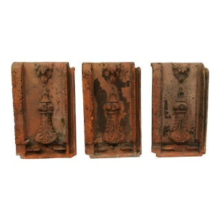 1920s Vintage French Architectural Clay Tiles - Set of 3 For Sale