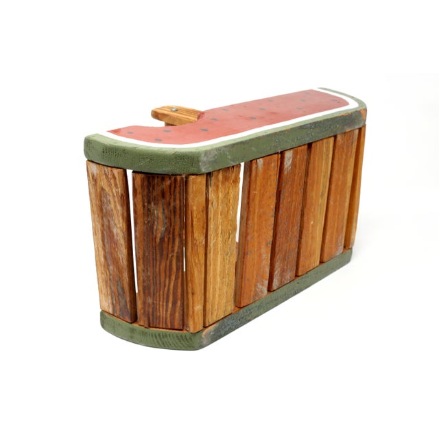 Vintage Handmade Wood Watermelon Slice Basket For Sale In Tampa - Image 6 of 10