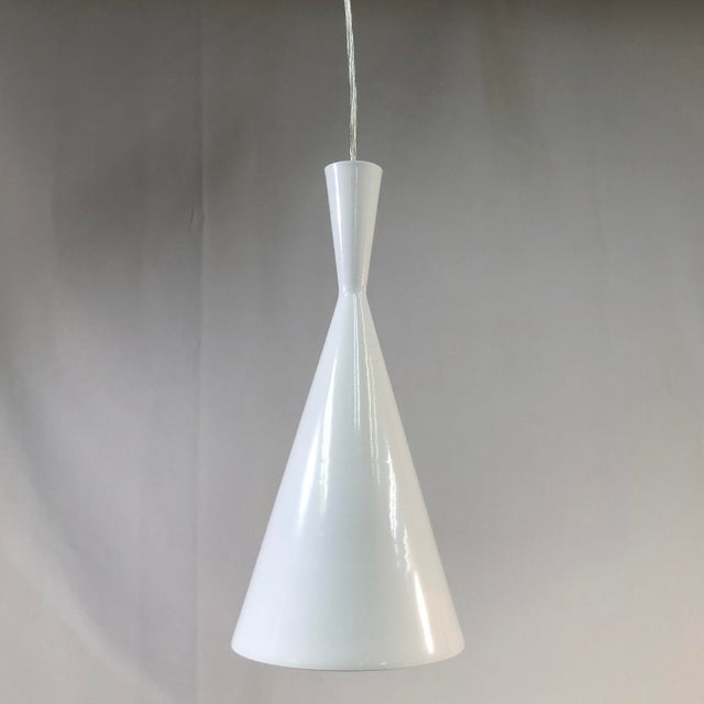 EuroFase Bronx 1-Light White Ceiling Pendant - Showroom Sample This sleek and simple pendant light is constructed of an...