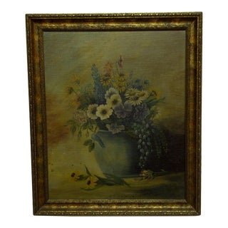 """Late 20th Century Vintage M. Haig """"Flower Pot"""" Painting For Sale"""