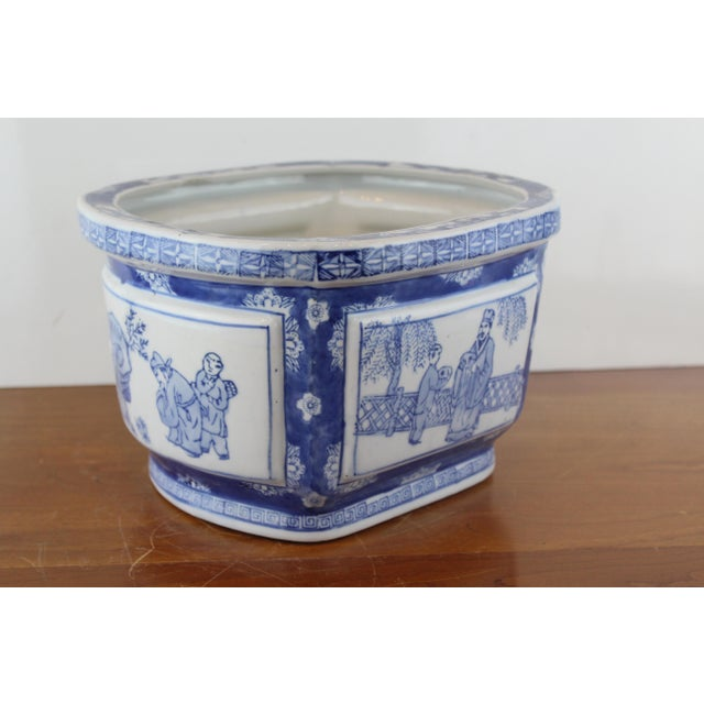 Vintage Mid Century Chinese Garden Scene Planter For Sale - Image 4 of 7