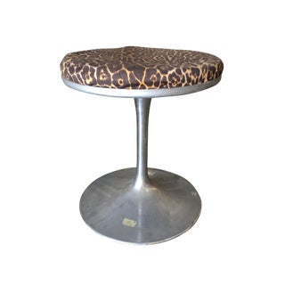 "Eero Saarinen for Knoll ""Tulip"" Chrome Stool W/ Leopard Print Seat For Sale"