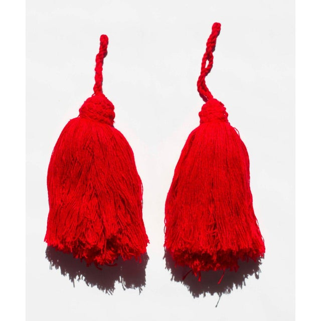 This is a lovely pair of handmade Moroccan yarn tassels in red. There are 10 available. If you are interested in...