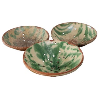 Three Majolica Strainer Bowls For Sale