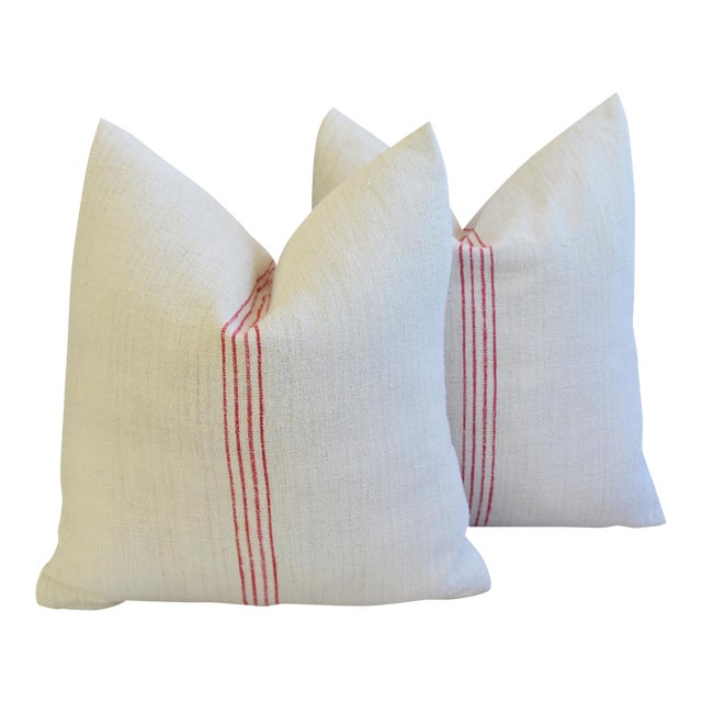 French Country Red Striped Gain Sack Pillows - Pair For Sale
