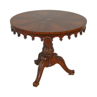 Regency Style Flame Mahogany Round Star Inlaid Carved Pedestal Center Table For Sale